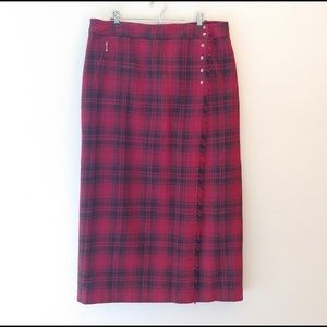 Eddie Bauer Plaid Wool Wrap Midi Skirt